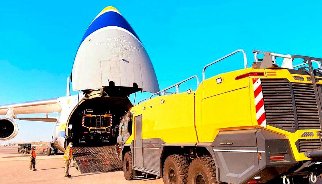 AN-124-en svelget inn tre slike brannbiler.