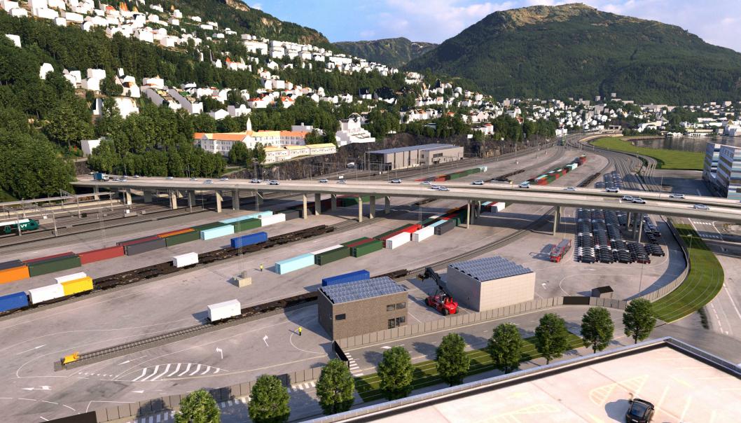 Slik blir den nye utslippsfrie godsterminalen på Nygårdstangen i Bergen, når den står ferdig i 2024.