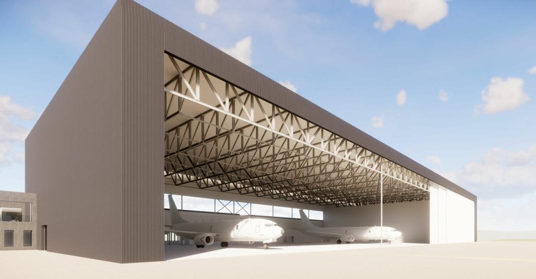 HANGAR: Slik blir hangaren som skal huse overvåkingsflyet P-8. Foto: Peab