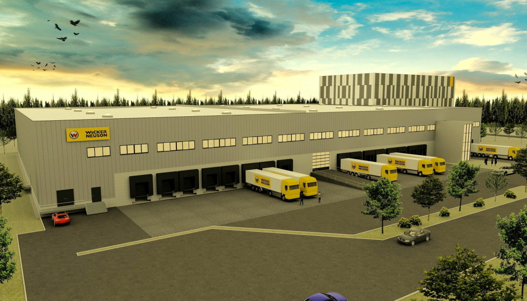 SPLITTER NYTT: Wacker Neuson bygger nytt logistikksenter ved kompakteringsmaskin-fabrikken i tyske Reichertshofen. Foto/illustrasjon: Wacker Neuson