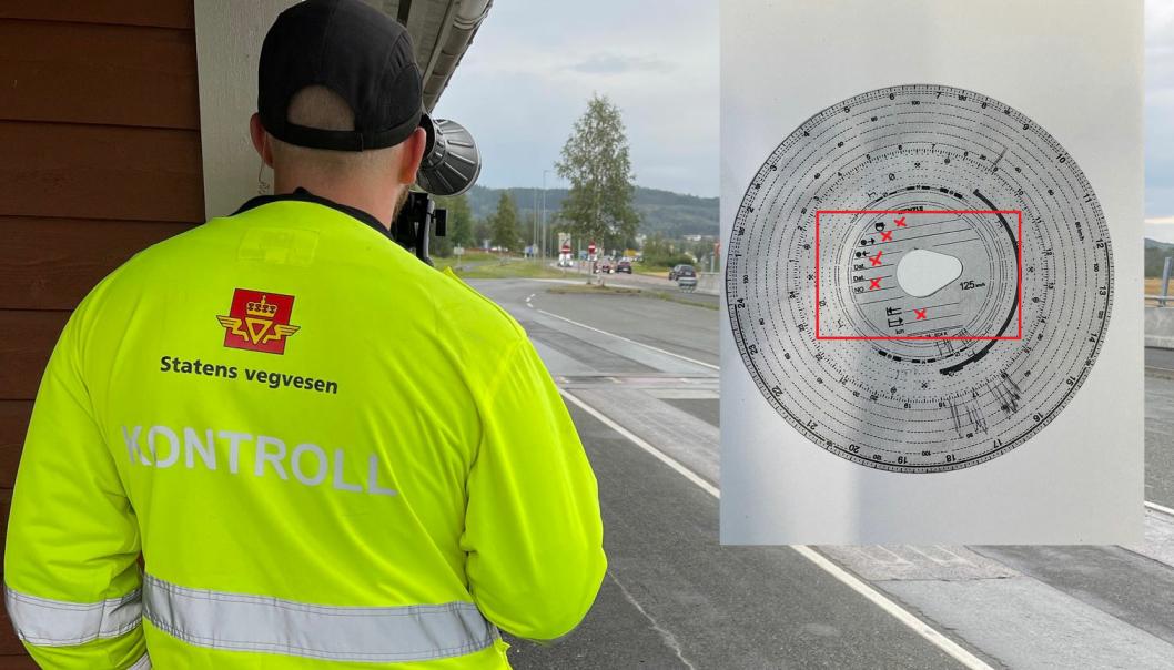En lastebilsjåfør ble stoppet i Trøndelag med skiva på bildet i skriveren.