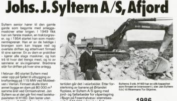 STORHANDEL: I 1986 klemte Johs. J. Syltern til med en storhandel med syv Åkerman-gravere, blant disse to Åkerman H16D som veide ca. 38 tonn. Det var skikkelige rugger på den tiden, og saken ble omtalt i Anlegg&Transport.