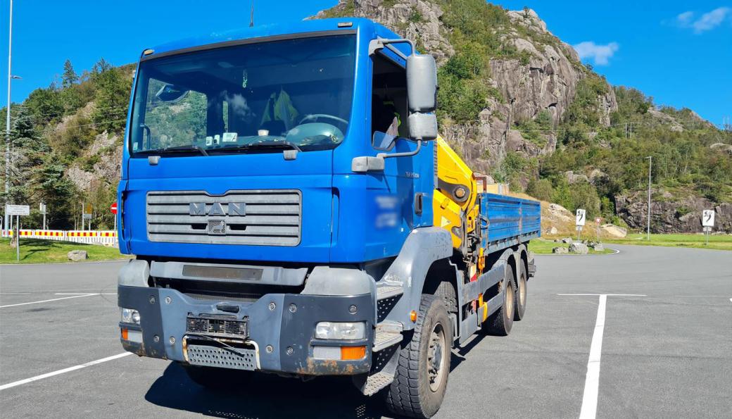 Denne utenlandskregistrerte kranbilen hadde vært på jobb i Norge siden januar.