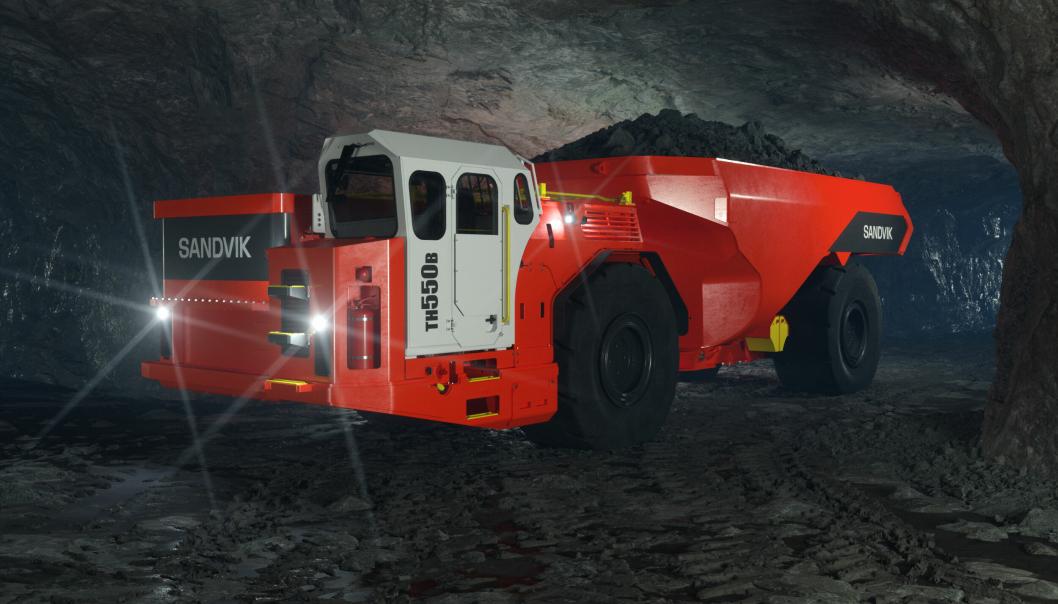 Sandvik TH550B dumper batterielektrisk dumper for gruvedrift under jord.