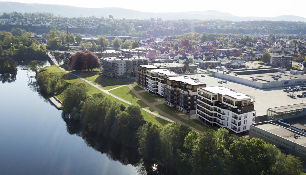 På Herkules Park skal det bygges totalt 85 boliger fordelt på fire leilighetsbygg, rett ved Hjellevannet i Skien.