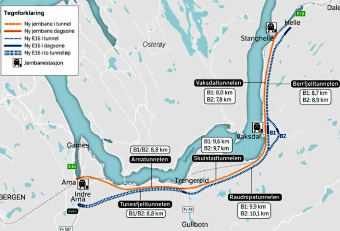 Bygging av ny E16 og Vossebanen Arna-Stanghelle.