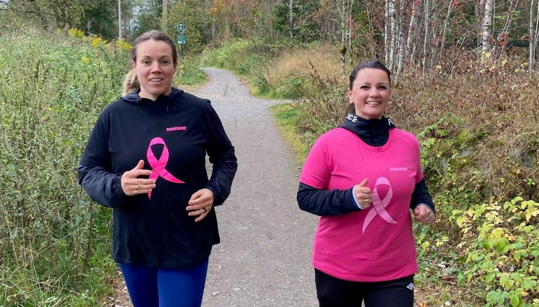 Økonomidirektør Dortea Gjervik (t.v.) og markedssjef Belinda Sandberg i Ramirent lader opp til årets Rosa sløyfe-løp mot kreft. Utleieselskapet er tungt inne og sponser årets løp.