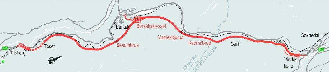 Nye Veier går ikke videre med entreprenør FCC Construcción S.A. for byggingen av ny E6 fra Ulsberg til Vindåsliene. Strekningen er ca. 25 kilometer lang.