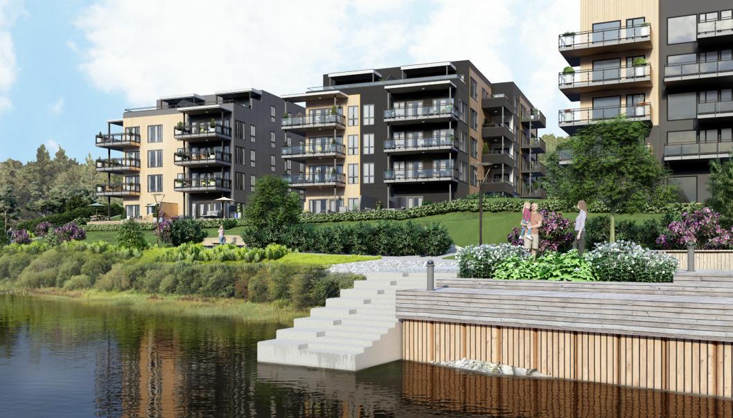 Ved elvebredden planlegges det blant annet en promenade, egen strand, hyggelige møteplasser og store, grønne lunger.